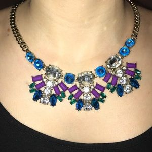 J.Crew purple, turquoise and diamond necklace